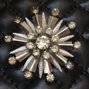 Antique Art Deco Silver Atomic Star Burst Brooch